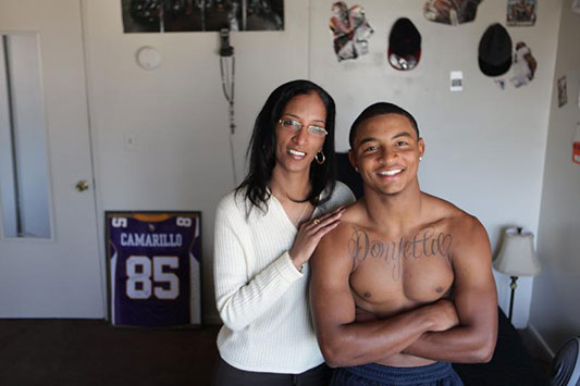 Donyetta Hamm with her son Kitam Hamm, Jr. (Shot for Sports Illustrated by Deanne Fitzmaurice)
