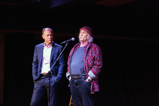 (David Crosby addresses donors to SVU. Photo by Donald Wilson)